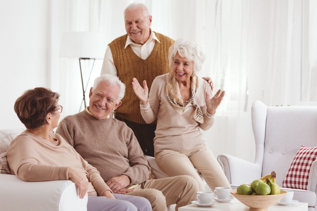 Senior citizens in the living room