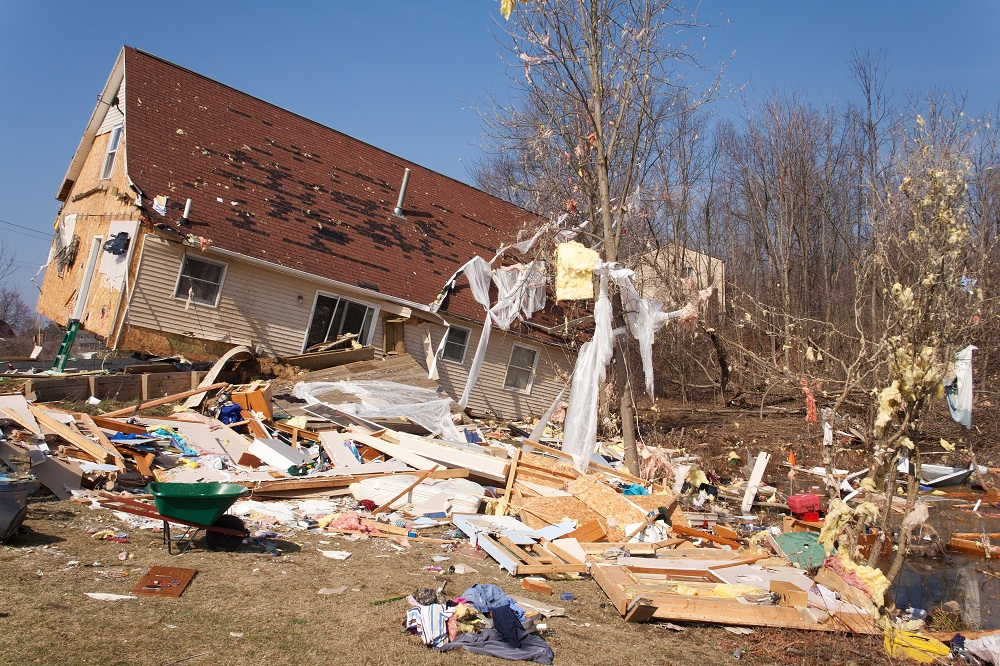 a house damaged by a tornado