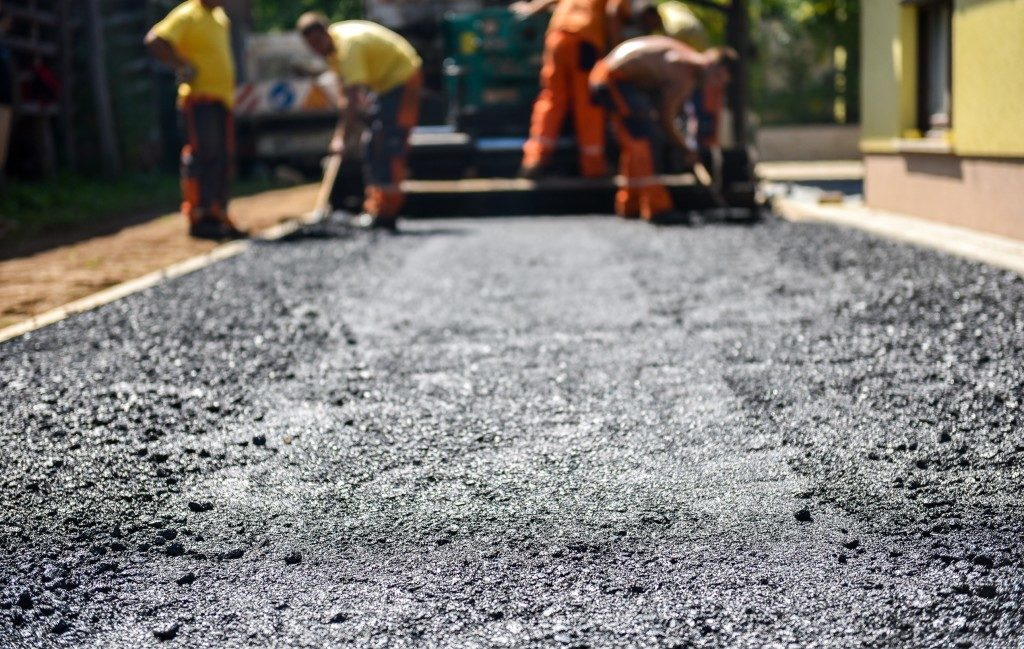 Asphalt road being repaired