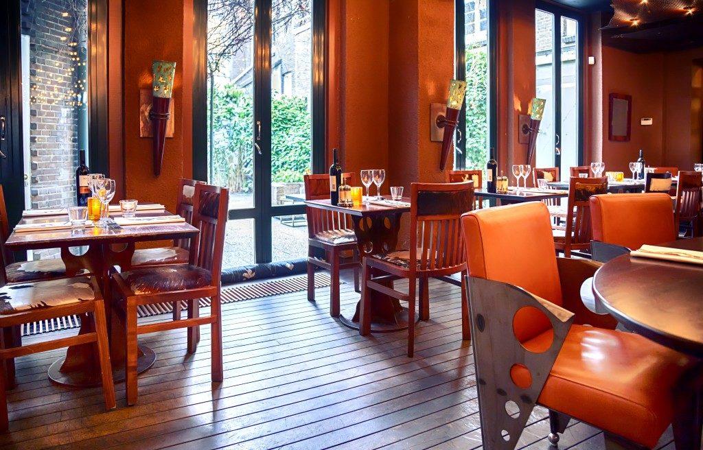Interior of an evening restaurant