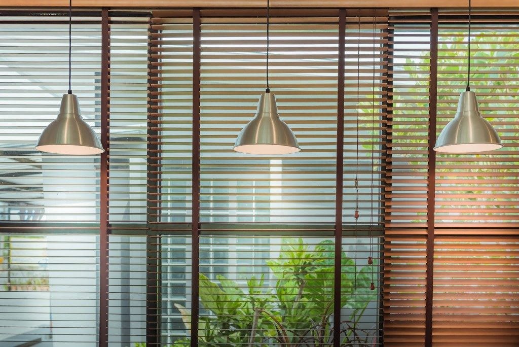 Glass window with blinds