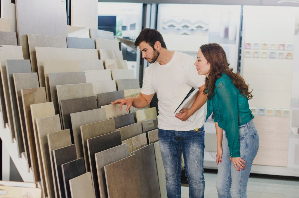 Couple shopping for tiles