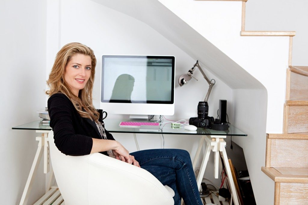 Photographer in her home office