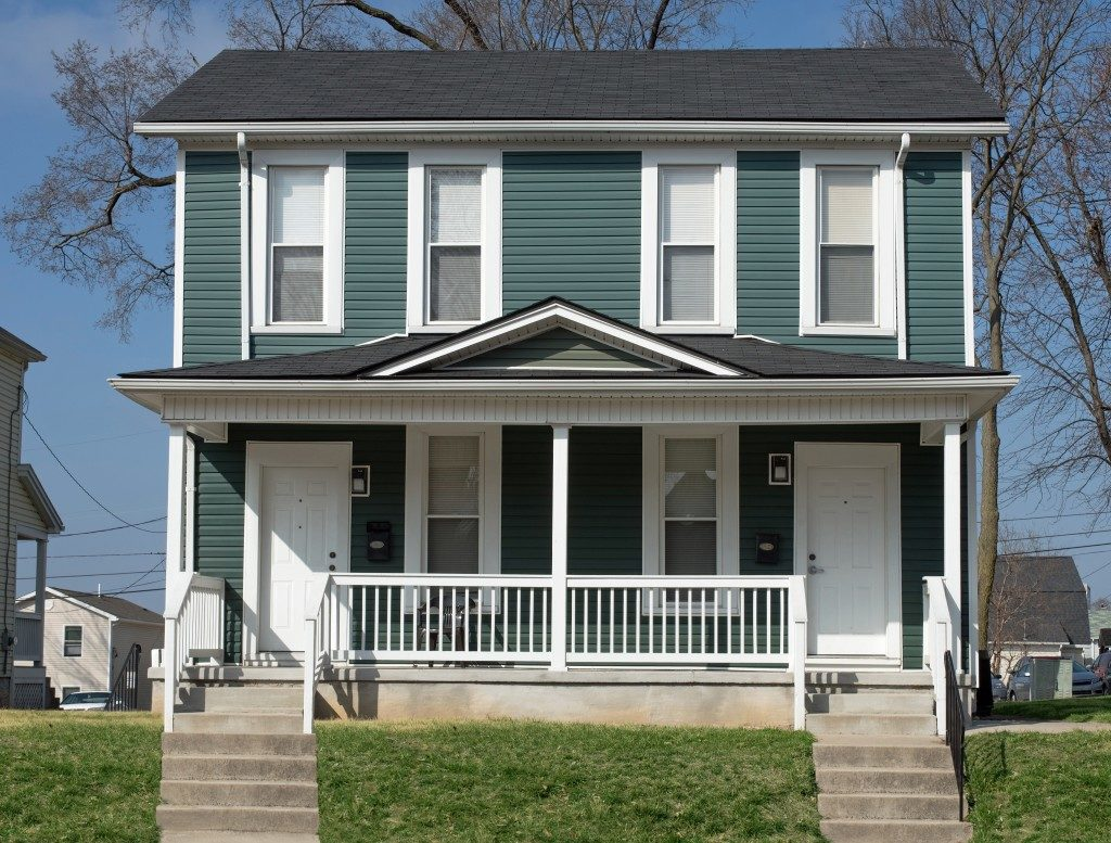 blue duplex house
