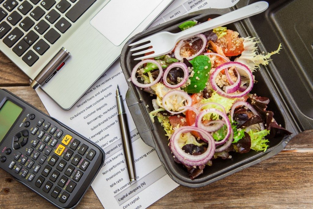 Salad on office desk