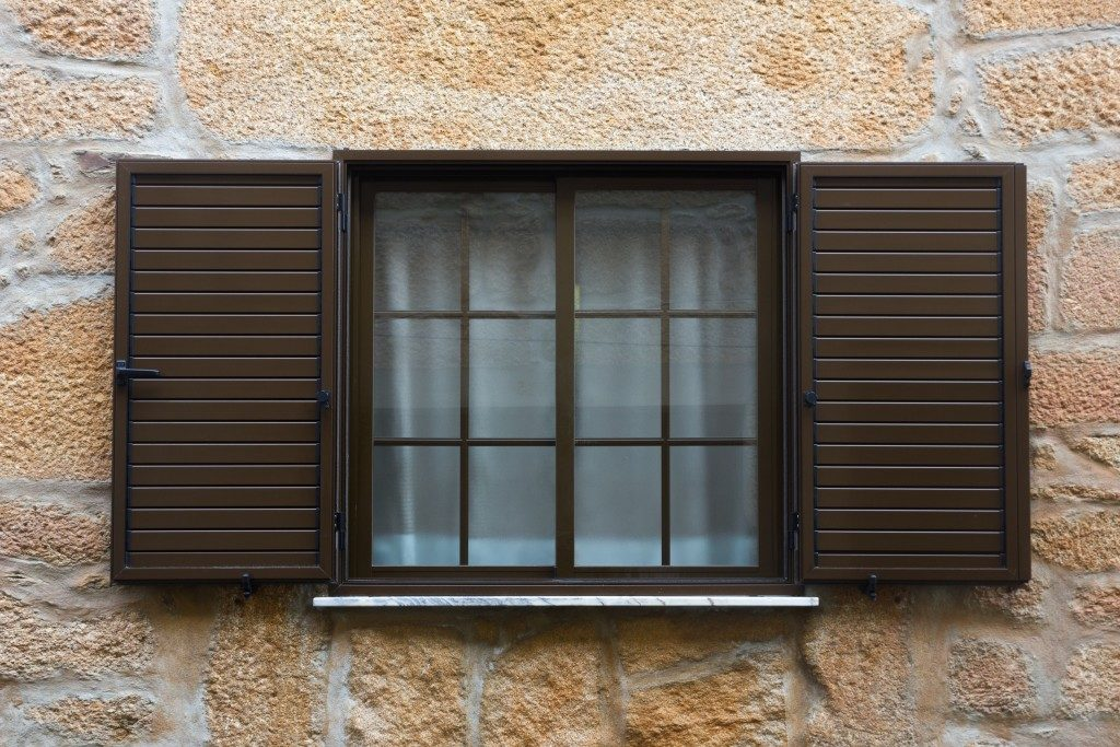 Vintage window with shutters