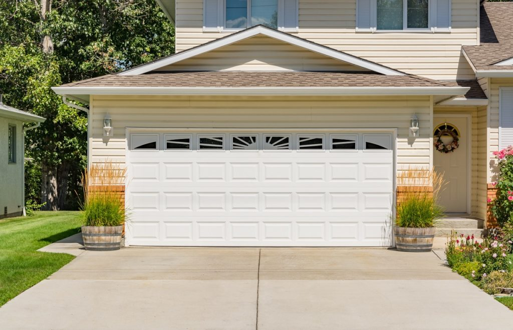white door of home's garage