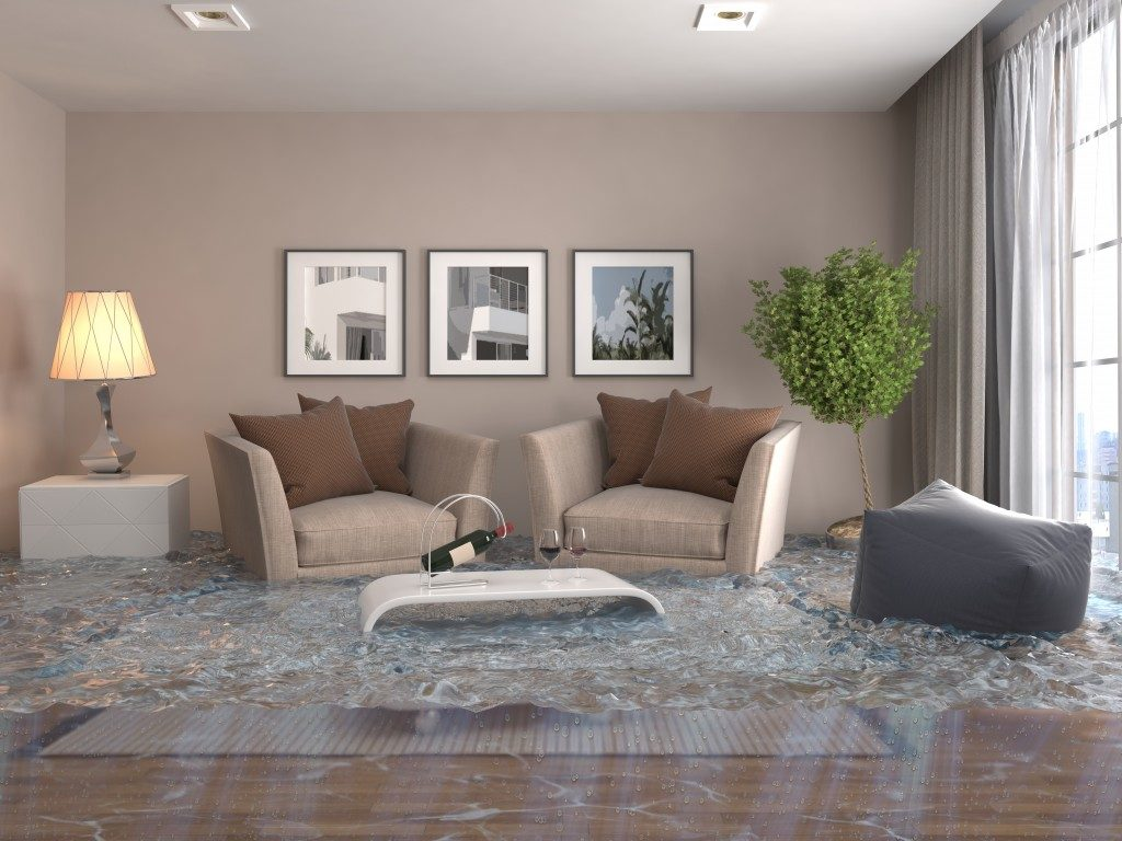 flooding in living room concept