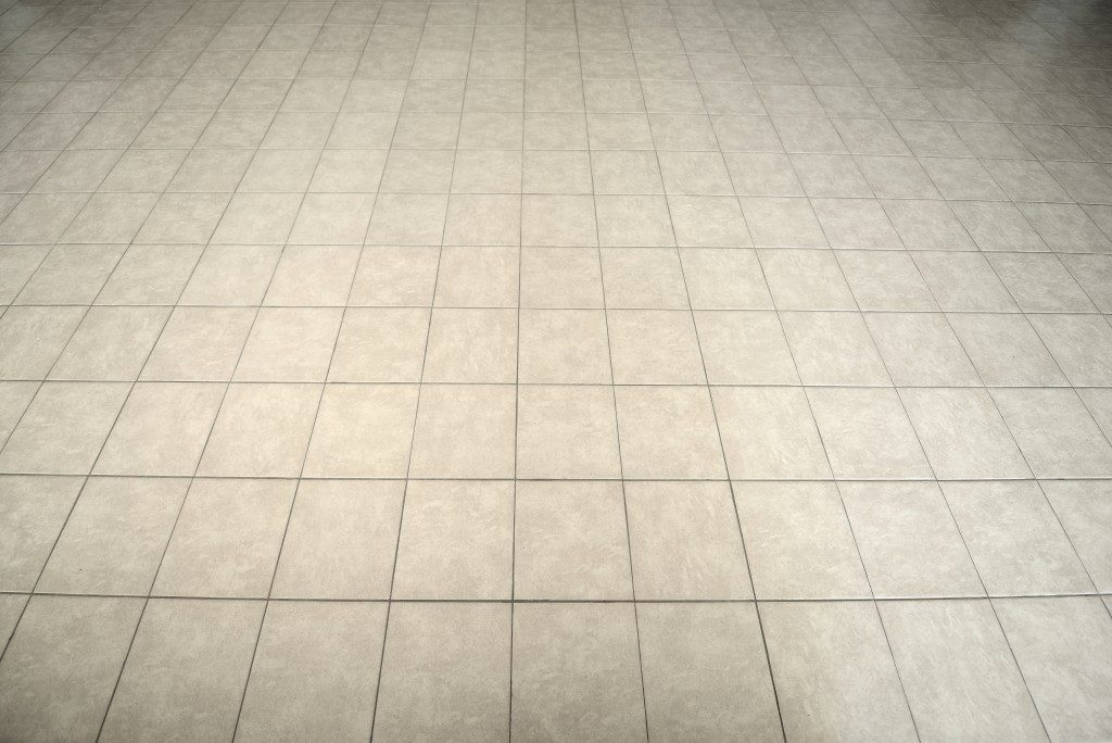 Gray tiled floor background