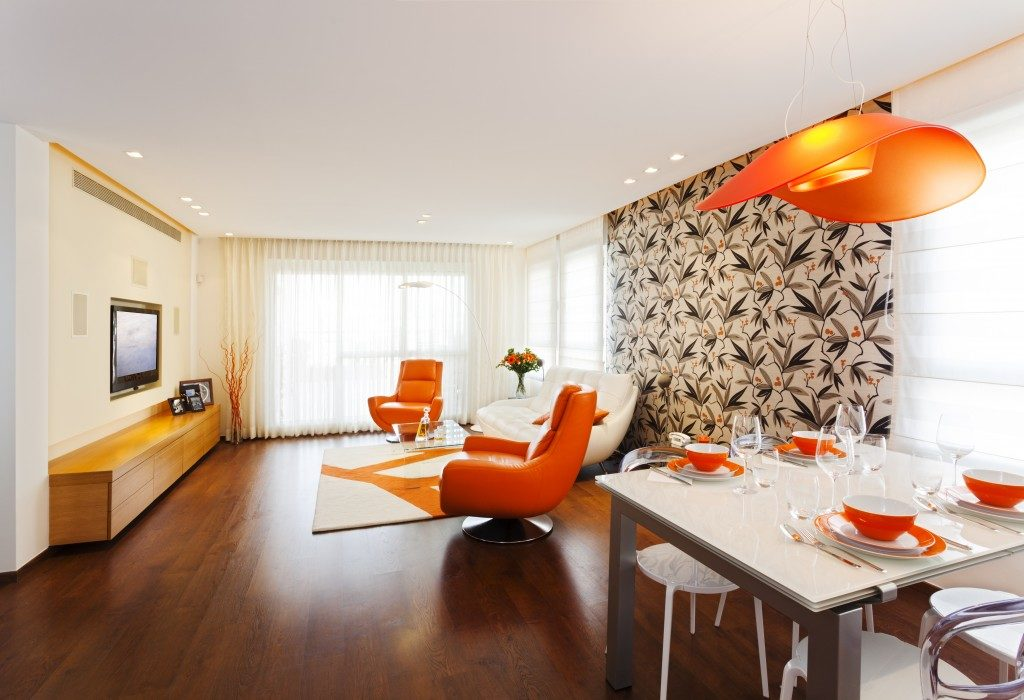 orange themed apartment
