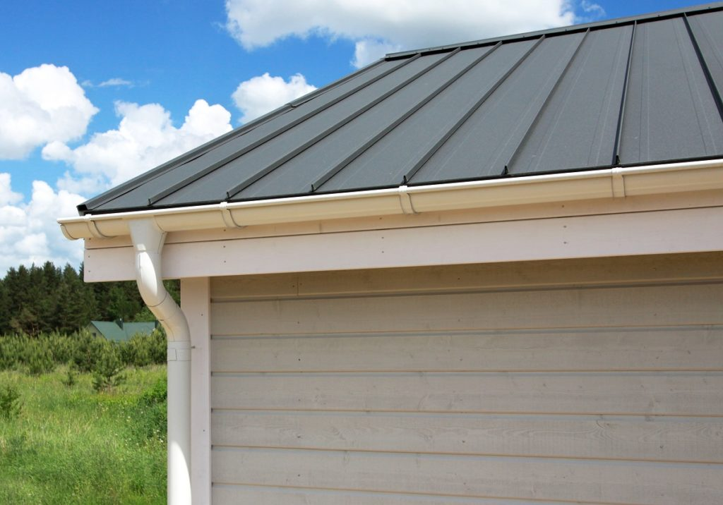 metal roofing with downspout